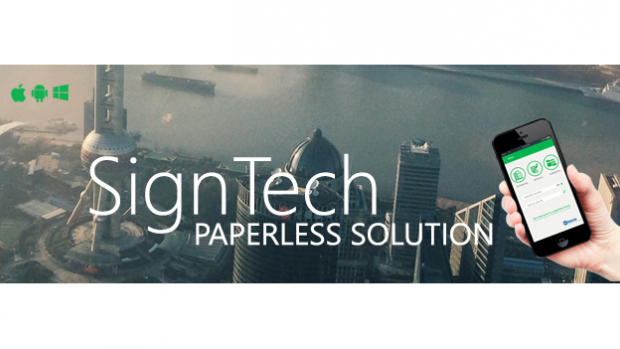 SignTech Paperless Solution text on background of an ariel view of a city