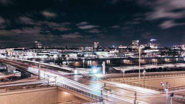 the city of copenhagen at night