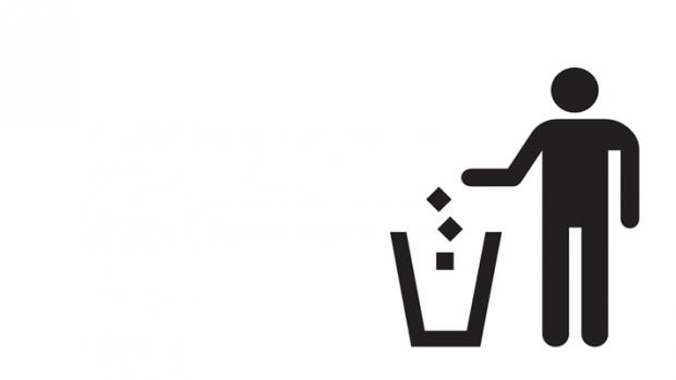 Throwing away trash icon